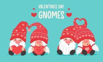 Joyeuse saint Valentin. Les couples de gnomes de dessin animé se donnent un coeur rouge le jour de la Saint-Valentin.