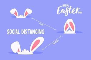 petites oreilles de lapin dans le trou de distanciation sociale. le concept de quarantaine et d'espacement social. vecteur