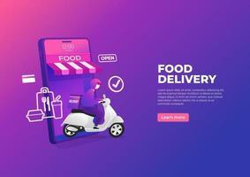 service de livraison de nourriture en scooter sur bannière de téléphone mobile. commander de la nourriture en ligne sur un smartphone.