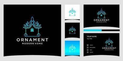 Modèles De Logo De Maison Moderne D'ornement Et Conception De Carte De Visite Vecteur Premium