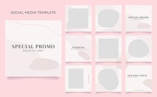 promotion de vente de mode de blog de bannière de modèle de médias sociaux. affiche de vente organique entièrement modifiable de puzzle de cadre de poteau carré. fond de vecteur blanc rouge rose