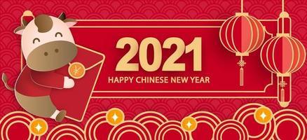 nouvel an chinois 2021 année du bœuf bannière