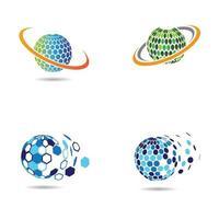 création de logo technologique mondial vecteur