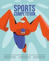 modèle d'affiche de natation athlète vecteur