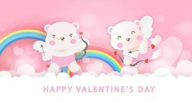 carte de voeux de la Saint-Valentin avec des ours et des arcs-en-ciel de cupidon mignons.