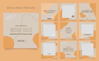 promotion de vente de mode de blog de bannière de modèle de médias sociaux. affiche de vente organique entièrement modifiable de puzzle de cadre de poteau carré. fond aquarelle vecteur marron jaune orange