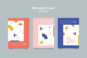 collection de couvertures memphis avec 3 schémas vecteur