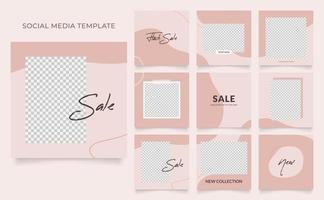 promotion de vente de mode de blog de bannière de modèle de médias sociaux. affiche de vente organique entièrement modifiable de puzzle de cadre de poteau carré. fond aquarelle vecteur blanc rouge marron