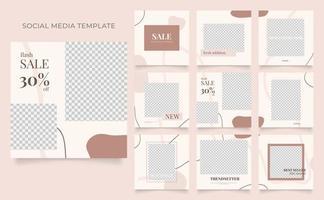 promotion de vente de mode de blog de bannière de modèle de médias sociaux. affiche de vente organique entièrement modifiable de puzzle de cadre de poteau carré. fond de vecteur beige rouge marron