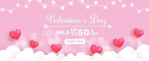 bannière de vente de la Saint-Valentin.