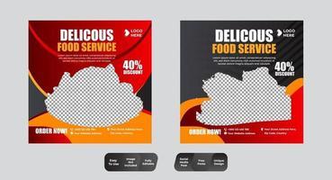 ensemble de médias sociaux de modèle de bannière de menu alimentaire