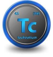 élément chimique technétium. symbole chimique avec numéro atomique et masse atomique. vecteur