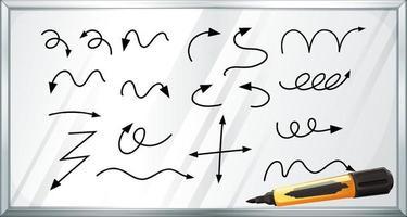 différents types de flèches courbes dessinées à la main sur un tableau blanc vecteur