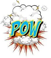 mot pow sur fond d'explosion de nuage comique