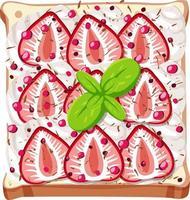 vue de dessus du pain avec garniture aux fruits vecteur