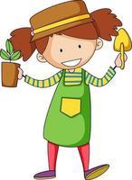 personnage de dessin animé fille jardinier vecteur