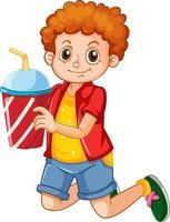 personnage de dessin animé garçon heureux tenant une tasse en plastique de boisson vecteur
