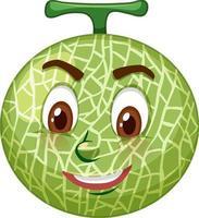 Personnage de dessin animé de melon cantaloup avec expression faciale