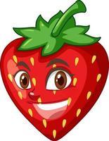 personnage de dessin animé de fraise avec expression faciale vecteur