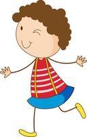 un personnage de dessin animé de fille doodle isolé vecteur