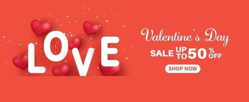 bannière de vente de la Saint-Valentin. vente jusqu'à 50.