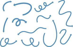 Différents types de flèches courbes dessinées à la main bleue sur fond blanc vecteur
