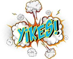 mot yikes sur fond d'explosion de nuage comique