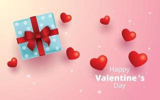bonne saint valentin, coffret cadeau et fond de coeurs vecteur
