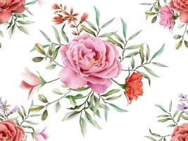 élégant modèle sans couture avec un beau design floral dessiné à la main vecteur
