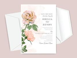 belle et élégante carte d'invitation de mariage dessiné main floral vecteur