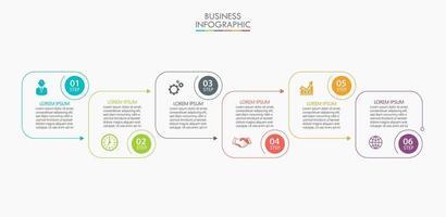 modèle de conception infographique fine ligne avec 6 options