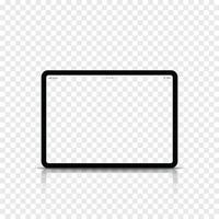ordinateur tablette noire réaliste moderne avec écran blanc. illustration vectorielle. vecteur