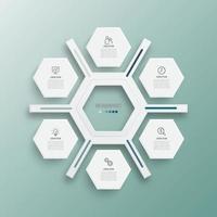 illustration vectorielle infographie 6 options. modèle pour brochure, entreprise, conception de sites Web.