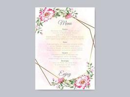 modèle d'invitation de mariage élégant avec un beau design floral