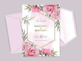 beaux et élégants modèles de cartes d'invitation de mariage floral vecteur