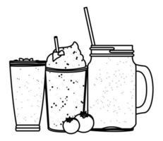 boisson aux fruits tropicaux et smoothie en noir et blanc vecteur