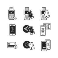 icône de ligne de paiement sans contact vecteur