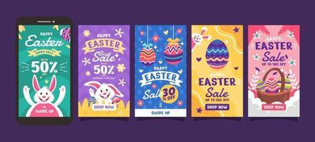 collection d'histoires instagram jour de pâques vecteur
