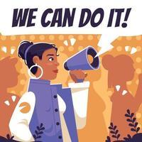 activiste femme plate donnant des discours