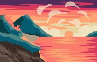 beau coucher de soleil et vue sur la montagne vecteur