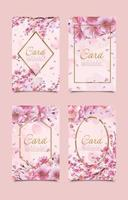 collection de modèles de cartes de fleurs de cerisier vecteur