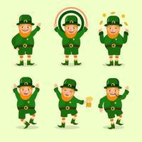 mignon leprechaun st. collection de personnages de patrick's day vecteur