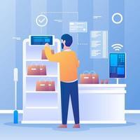 technologie de libre-service sans contact inactive vecteur