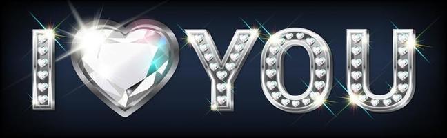 argent je t'aime texte avec des diamants vecteur
