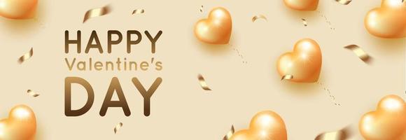 bannière horizontale de la Saint-Valentin avec des ballons dorés