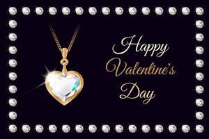 bannière avec collier coeur diamant pour la saint valentin vecteur