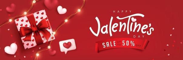 affiche de vente de la Saint-Valentin ou bannière fond rouge avec boîte-cadeau et coeurs. vecteur