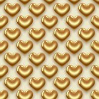 motif de coeurs d'or vecteur