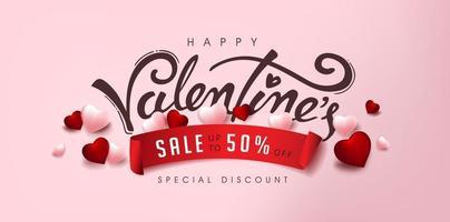 affiche de vente de la Saint-Valentin ou bannière avec coeur et calligraphie. vecteur