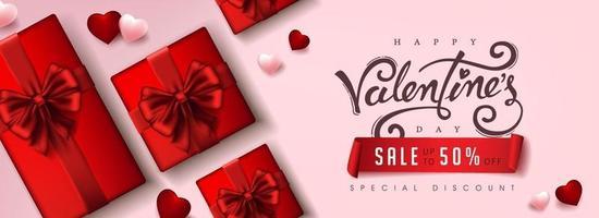 affiche de vente de la saint-valentin ou bannière avec coffrets cadeaux et coeurs vecteur